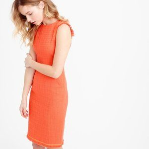 J Crew Orange Sheath Dress in Textured Tweed